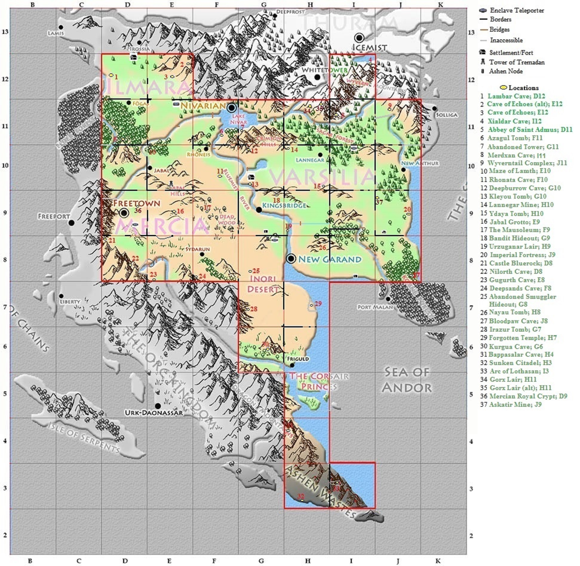 Annotated World Map Enlarged View Exiled Kingdoms Wiki
